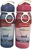 Rubbermaid 20 oz Refill Reuse Water Bottle 2 Pack 1 Pink and 1 Blue Bottle