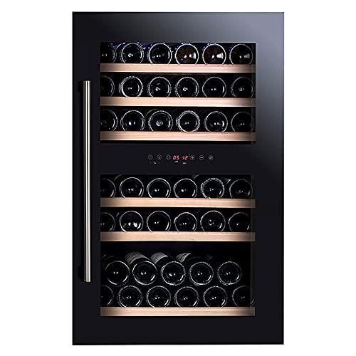 VIY Nevera vinos Nevera para vinos con Puerta acristalada 42 Botellas de Vino iluminación Interior 6 baldas 2 Zonas de frío antivibración Negro
