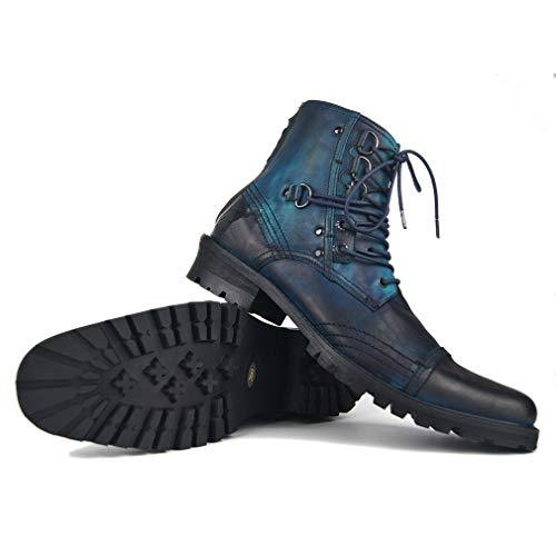 LBYSK Botas Zapatos con Cordones de otoño cómoda Manera de los Hombres Semi-Alta New Classic Frente tacón de Gran tamaño Informal Martin Botas de Cuero Botas Hombre básico,Azul,13