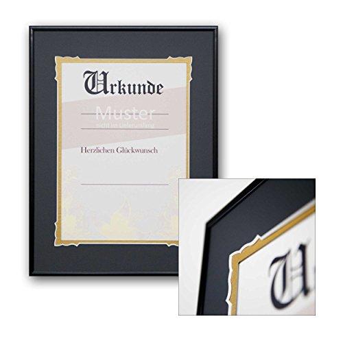 Urkundenrahmen Heinrich - für DIN A4 Urkunden - mit Doppel-Passepartout - Zierschnitt - Aluminiumrahmen - Meisterbrief - Zertifikat - Urkunde - Ehrung - Einrahmung - Rahmung