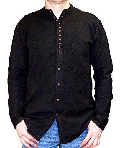 NADUR Stehkragenhemd - Irisches Stehkragenhemd - EW 13 Motor Black (S)