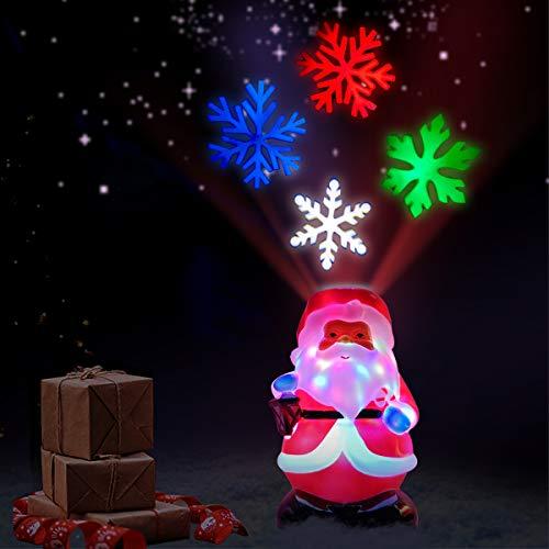 Christmas Santa Snowflake Night Light Projector - Indoor Christmas Decoration Santa Claus Shape with Colorful Snowflake Lights Projector Lamp for Xmas Holiday Party
