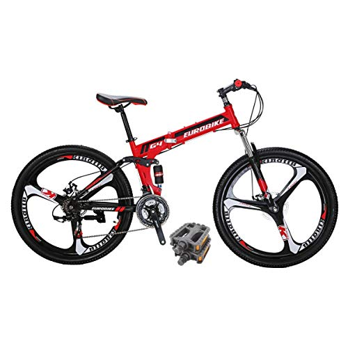 Eurobike G4 Folding Bike 21 Speed 26 Inches 3 Spoke Wheel Dual Suspension Folding Mountain Bike Red