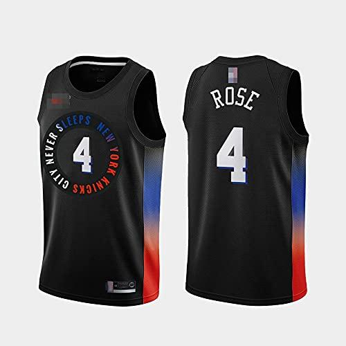 Jerseys De Baloncesto De Los Hombres, NBA New York Knicks # 4 Derrick Rose - Chaleco De Secado Rápido De La Transpirable Clásico Comfort Camiseta Sin Mangas Uniformes Tops,Negro,XXL(185~195CM)