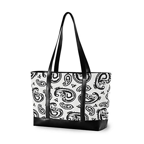 Black And White Paisley Feather Women Canvas Handbags Shoulder Tote Bag Top Handle Satchel Large Capacity Bags Laptop bag Tablet bag(14.6×5.1×11.8 in)