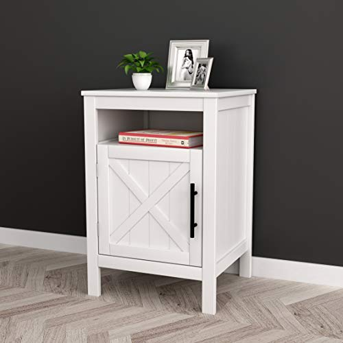 Great Features Of White Finish Nightstand Side End Table with Door Cabinet and Open Shelf 26 H