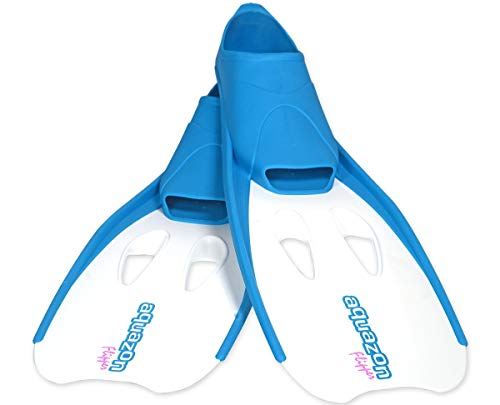 Aquazon Flossen, Schnorchelflossen, Schwimmflossen, Tauchflossen Flipper Für Kinder, Jugendliche Und Damen 31-33 Blau