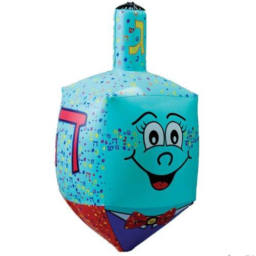 23.5' Large Blue Inflatable Hanukkah Dreidel Decoration with Smiley Face