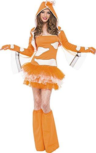 Smiffys, Damen Clownfisch Kostüm, Tutukleid mit abnehmbaren Trägern, Jacke mit Kapuze und Überstiefel, Größe: XS, 45361