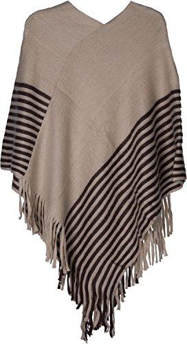 styleBREAKER Streifen Poncho Feinstrick mit Fransen, V-Ausschnitt, Winter, Damen 08010049, Farbe:Beige-Dunkelbraun