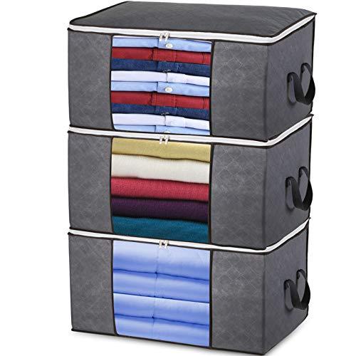 Storage Bags for Blanket, Semai 90L Large Foldable Storage Bag Storage Bin, 3pcs Clothing Organizer Fabric Linen Storage for Duvet, Pillow, Bedroom