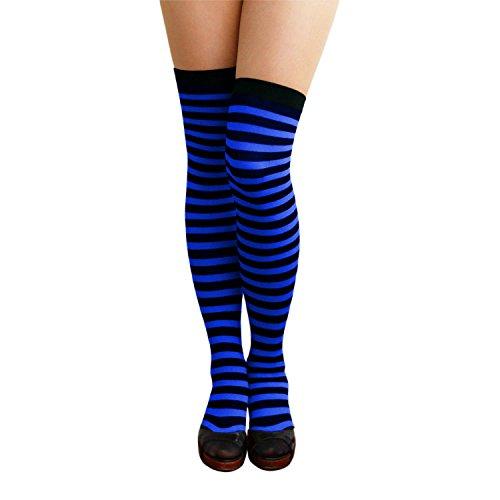 Oblique Unique® Sexy Strumpfhose -halterlos- Overknee Strümpfe - Party Kostüm Fasching Karneval (Overknee Ringel schwarz/blau)