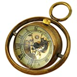 VIGOROSO Men's Unique Ball Glass Skeleton Steampunk Retro Pendant Mechanical Pocket Watch