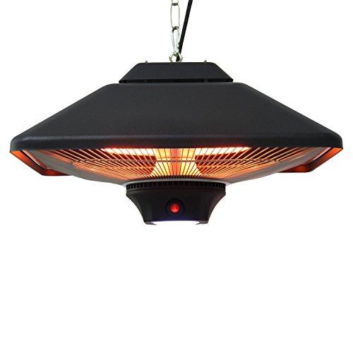 Outsunny Terrassenstrahler Deckenstrahler Heizstrahler mit Fernbedienung LED Beleuchtung, 2000W, 43x43x25cm