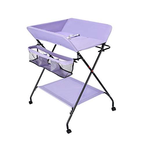 N/Z Living Equipment Table Tocador de Mesa para niños, niña, niño, estación de pañales con Almacenamiento, Unidad de Cambiador portátil para bebés, Mesa de Cuidado de masajes (Color: púrpura)
