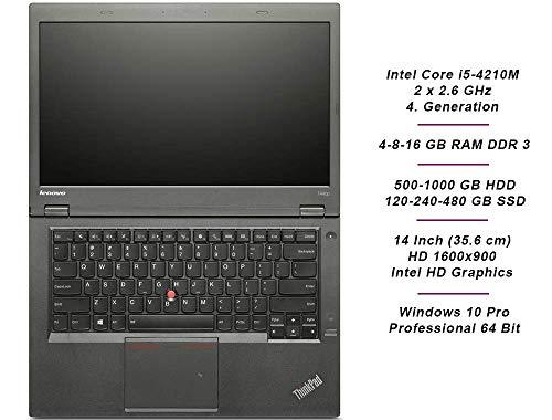 Lenovo ThinkPad T440p Business Notebook, Intel i5 2 x 2.6 GHz Prozessor, 8 GB Arbeitsspeicher, 240 GB SSD, 14 Zoll Display, HD, 1600x900, Windows 10 Pro, QPG (Generalüberholt)