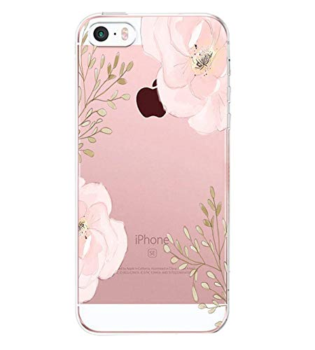 Compatible/Replacement pour Coque iPhone Se/ 5S/5,Ultra Flex Series Housse de Protection Souple avec Protection Flexible et Crystal TPU Premium pour iPhone Se/ 5S/5,Fleur(6)