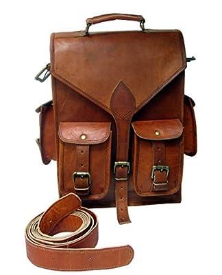 """Leder_artesanía Brown Vintage Leather Backpack Laptop Messenger Bag Rucksack Sling for Men Women (11"""" x 15"""")"""