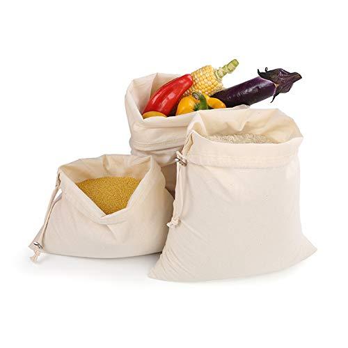 Herbruikbare schouder/handige boodschappentas met trekkoord Milieuvriendelijke boodschappentas katoenen canvas tas voor poeder, rijst, brood, groenten, fruit (10 stuks) 3s+5m+2l