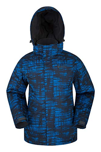 Mountain Warehouse Chaqueta de esquí Dusk para Hombre - Chubasquero Resistente al Agua, Forro de Felpa, Abrigo con faldón antinieve para Hombre, puños y Capucha Ajustables, Invierno Cobalto XS