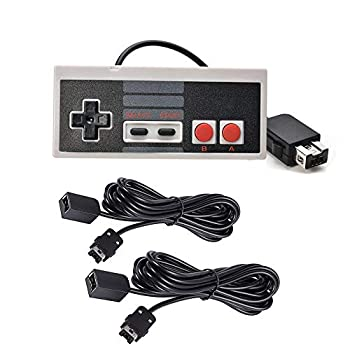 Chilartalent 1 NES Mini Classic Controller with 2 Pack of 10ft Extension Cable for NES Classic SNES Classic Wii and Wii U Controller