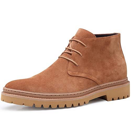 CHAMARIPA Suede - Botas para hombre, 7 cm, zapatos elevadores, clásicos, color marrón con cordones H01B61D031D, Marrón (marrón), 38 EU