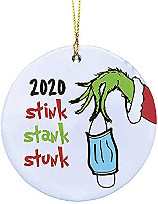 jusourse Grinch Hand Christmas Ornament, Personalize Grinch, Grinch Ornament, COVID Christmas, COVID Ornament, Quarantine Ornament,Face Mask Ornament