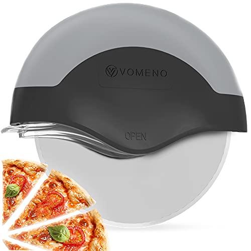 Vomeno® XXL Pizzaschneider für perfekte Stücke ohne Kraftaufwand - Profi Pizzaroller mit integriertem Klingenschutz & Reinigungsfunktion [Edelstahl]