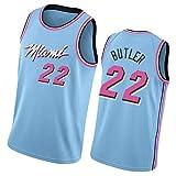 Camiseta de baloncesto Jimmy Butler City Edition, Miami Heat 22 # Vintage Bordado Fan Training Jersey, transpirable transpiración de secado rápido
