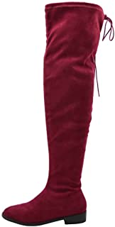 Over The Knee Boot Thigh High Drawstring Upper Round Toe Low Chunky Block Heel Boots