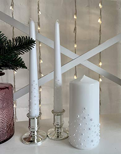 Magik Life Unity Candle Set for Wedding - Wedding Accessories for Reception and Ceremony - Candle Sets - 6 Inch Pillar and 2 10 Inch Tapers - Decorative Pillars White