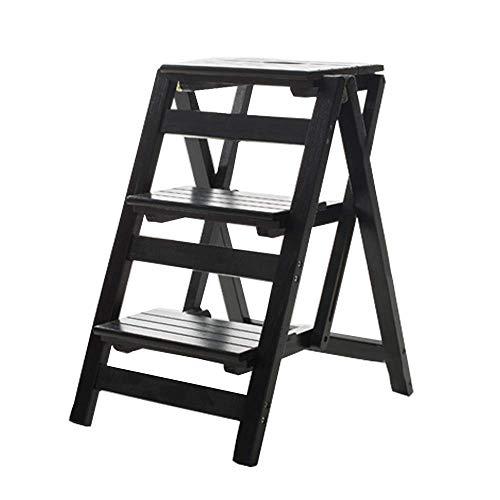 MFWallMirror Trapvormige krukladder, inklapbaar, ladder uit het platform, multifunctionele houten ladder voor boekenkast, familiebibliotheek, 3 stappen 150 kg capaciteit