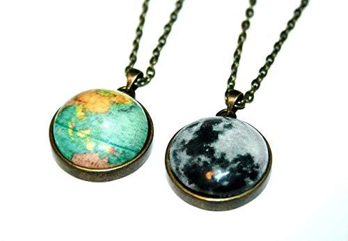 Mond und Erde Globus Wendekette, 70cm, bronzefarben, süsse handgefertigte Freundschaftskette für die liebste Schwester, beste Freundin und alle Reiselustigen