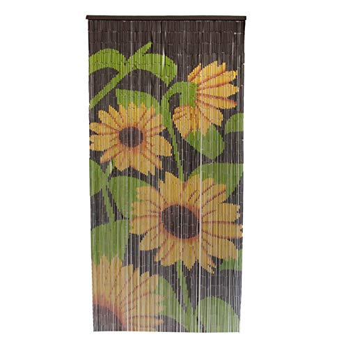 Smartfox Türvorhang Bambusvorhang Bambustürvorhang Raumteiler mit 90 Strängen in der Größe 90x200cm mit Motiv Sonnenblume