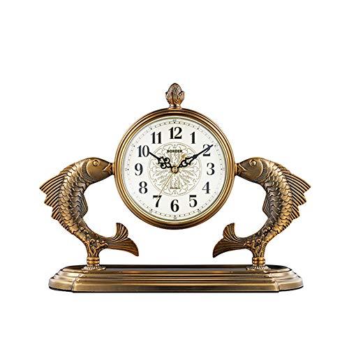 Reloj De Mesa Retro Europeo, Reloj De Recepción, Relojes De Escritorio del Reloj De La Vendimia, con Balanceo para Oficina, Decoración del Hogar, Regalo, Operado por Baterías,11