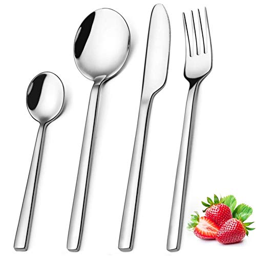 Cutlery Set 24 Piece, Elegant Life Stainless Steel Flatware Silverware, Service for 6, Knife Fork Spoon Set Ideal for Home/Camping/Party, Easy Clean & Dishwasher Safe - Healthy & Mirror Polished.