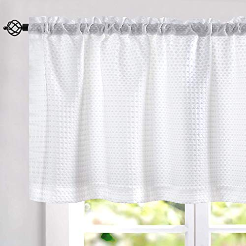 jinchan Waffle Woven Textured Valance for Bathroom Water Repellent Window Covering 60 inch x 18 inch White One Panel