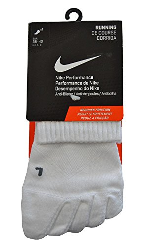 NIKE Run 5 Toe Quarter - Calcetines, Color Blanco, tamaño Mediano