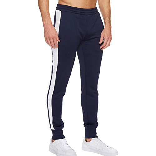 Paolian La personnalité des Hommes de Mode Casual Pantalon de Sport de Couture Hommes, de Grandes Poches latérales, Pantalons décontractés lâches Confortables et Doux (XL, Marine)