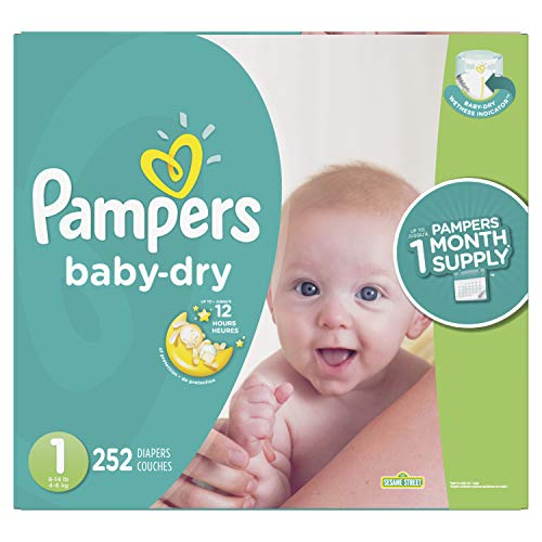 Diapers Newborn / Size 1 (8-14 lb), 252 Count - Pampers Baby Dry Disposable Baby Diapers, ONE MONTH SUPPLY