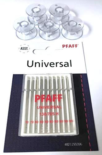 5X Kunststoff Spulen + Original Pfaff Universal Nadeln für Pfaff Nähmaschinen Hobby 1122, 1132, 1142, 1022, 1032, 1042