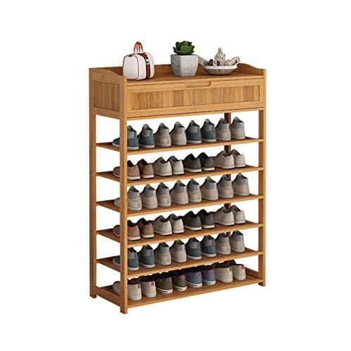LYLY Zapatero de bambú de varias capas con cajón de pie para zapatos, organizador de despensa para entrada, pasillo y zapatero (tamaño: 6 niveles)