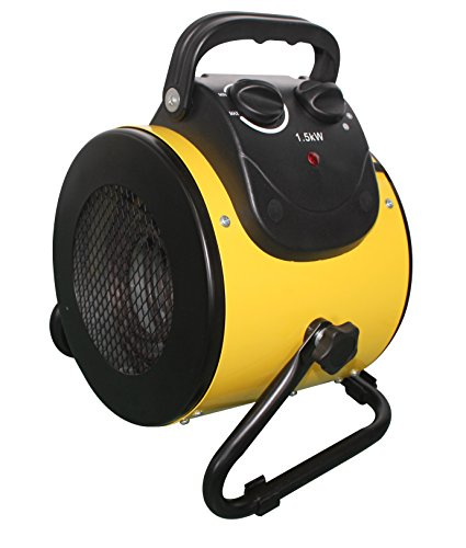 Hiland HIL-BG-E2B Electric Forced Air Heater, Variable 25/1500 Watts, w/Stand, Circular, Yellow Accessories heaters