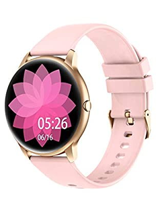 YAMAY Smart Watch Compatible iPhone and Android Phones Swimming Waterproof, Watches for Men Women Round Smartwatch Fitness Tracker Heart Rate Monitor Digital Watch with Unlimited Watch Faces