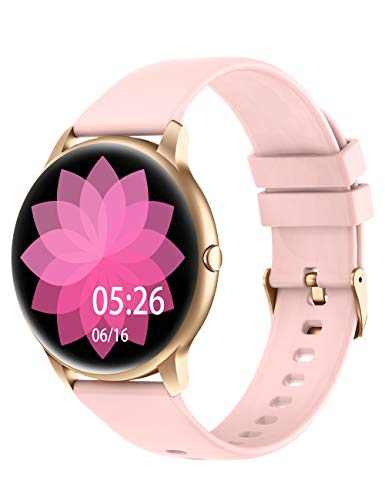 YAMAY Smart Watch Compatible iPhone and Android Phones IP68 Waterproof, Watches for Men Women Round Smartwatch Fitness Tracker Heart Rate Monitor Digital Watch with Personalized Watch Faces (Pink)