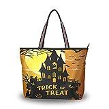 Castle Night Pumpkins Bat Full Moon para madres, mujeres, niñas, damas, estudiantes, bolsos, monedero, compras, bolsos de hombro, bolso de mano, correa liviana