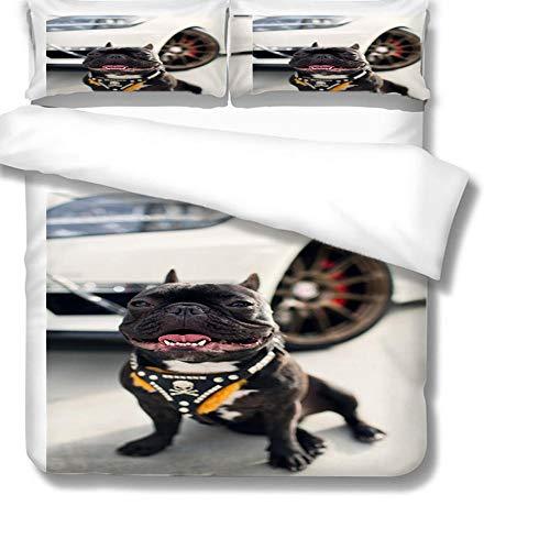 Juego de Funda de edredón diseño de Perro Negro Impresa en 3D Fundas nordicas 220 x 240 cm con Cremallera con 2 Fundas de Almohada Suave en poliéster para Cama matrimonial