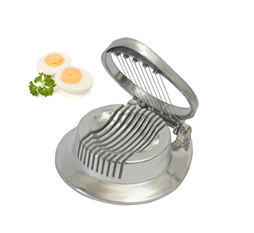 Kerafactum® - Eierschneider Eierteiler Eierzerteiler - Praktisch auch für Pilze oder Mozarella verwendbar Ø 11 cm mit Arretierung für stehenden Bügel - rostfrei - Egg Slicer