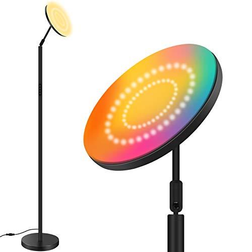 Lámpara de pie LED RGB,Bomcosy 25W Lámpara de pie RGBW ajustable para sala de estar, Lámpara de pie LED táctil,Lámpara de pie LED con luz de lectura, ajustable, para sala de estar,oficina,dormitorio