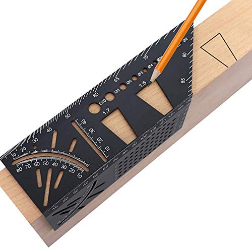 Aluminum Alloy Woodworking Square Size Measure Ruler, 3D Mitre Angle Measuring Template Tool, 45 90 Degree Carpenter's Layout Ruler Gauge Woodworking Accessories Gifts for Men Dad Father Husband